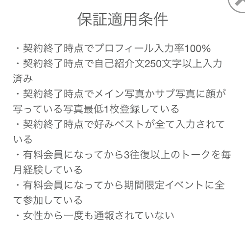 withの恋活成功保証適用条件
